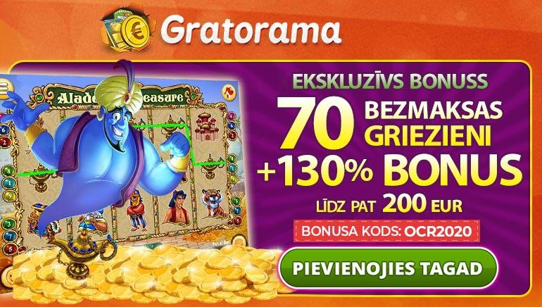 Paņemiet 130% Bonusu Līdz Pat €200 & 70 Bezmaksas Spēles Pie Gratorama Casino