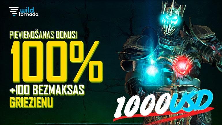 Wild Tornado Casino - UZŅEMŠANAS BONUSS €1000 Code: [WILD100] 100% Match Bonus (Min. Deposit: €10) + BEZMAKSAS GRIEZIENU BONUSS 100